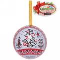 Ёлочный шар-шкатулка жестяной 7 см Мезенская роспись купить оптом и в розницу