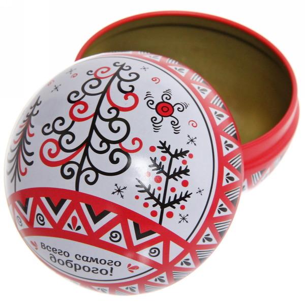 Шар-шкатулка 7см жестяной Мезенская роспись купить оптом и в розницу