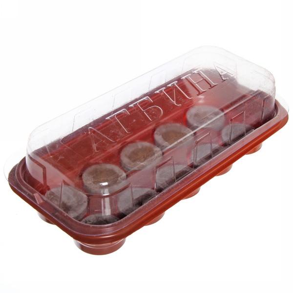 Мини-теплица малая 10 ячеек с торфяными таблетками 44 мм 250*120*60 мм Jiffy купить оптом и в розницу