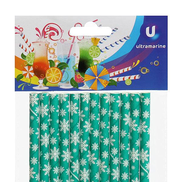 Трубочка для коктейля 5*195мм в наборе 12 шт ″Снежинки-2″ Ультрамарин купить оптом и в розницу