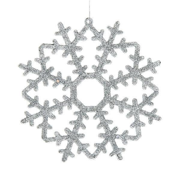 Ёлочные игрушки подвески, набор 2шт,13,5см ″Снежинки серебро″ купить оптом и в розницу
