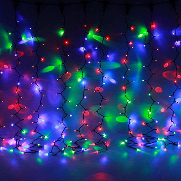 Занавес светодиодный уличный ш2*в1,5м, 276 лампы LED,″Дождь″, RG/RB(красный,зеленый/красный,синий), 8реж, черн.пров купить оптом и в розницу