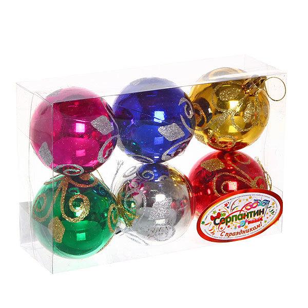 Новогодние шары ″Узор″ 6см (набор 6шт.) купить оптом и в розницу