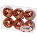 Новогодние шары ″Рубин Золотой цветок″ 6см (набор 6шт.) купить оптом и в розницу