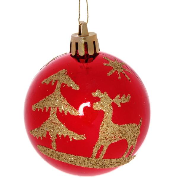 Новогодние шары ″Рубин Золотой олень″ 6см (набор 6шт.) купить оптом и в розницу