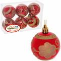 Новогодние шары ″Рубин Цветочек″ 6см (набор 6шт.) купить оптом и в розницу