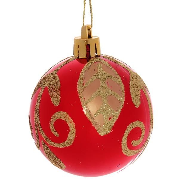 Новогодние шары ″Рубин Золотой листик″ 6см (набор 6шт.) купить оптом и в розницу