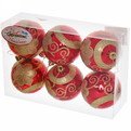 Новогодние шары ″Рубин.Золотой цветик″ 7см (набор 6шт.) купить оптом и в розницу