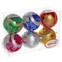 Новогодние шары ″Орнамент″ 7см (набор 6шт.) купить оптом и в розницу