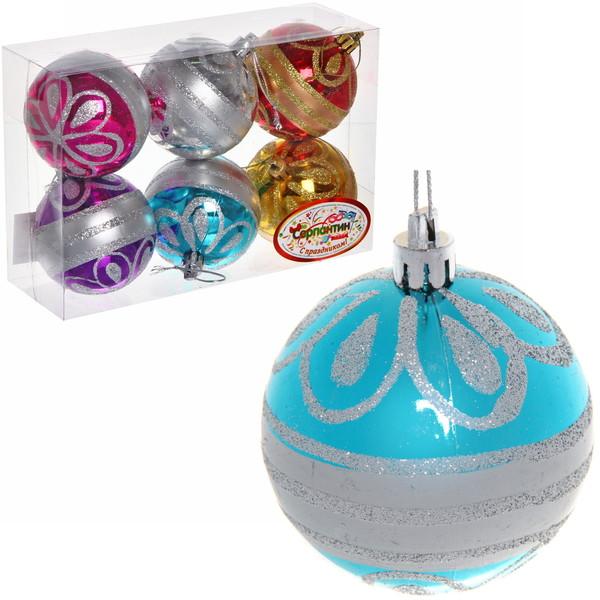 Новогодние шары ″Ажур″ 7см (набор 6шт.) купить оптом и в розницу