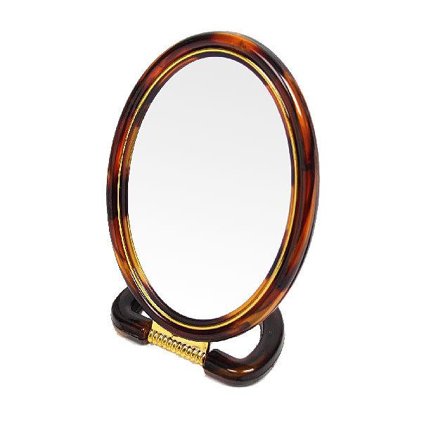 Зеркало настольное в пластиковой оправе ″Янтарь″ овальное, подвесное, цвет янтаря 21см купить оптом и в розницу