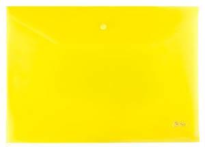 Папка-конверт Пластиковая на кнопке А4ф Hatber 180мкм желтая купить оптом и в розницу