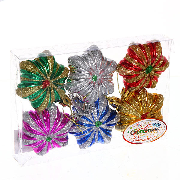 Ёлочные игрушки, набор 4шт, 6см ″Цветок″ микс купить оптом и в розницу