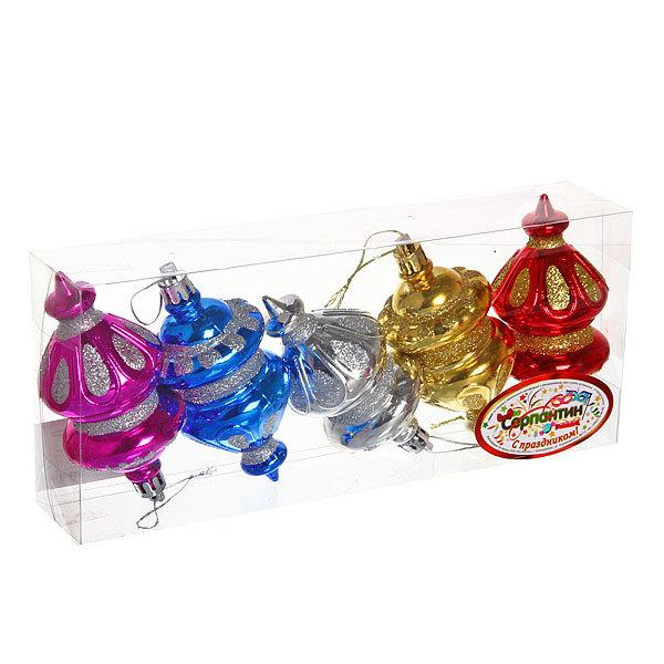 Ёлочные игрушки, набор 5шт, 10см ″Фонарики″ купить оптом и в розницу