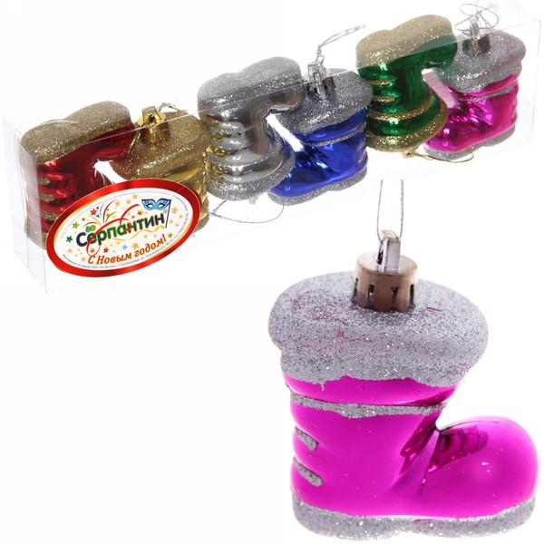 Ёлочные игрушки, набор 6шт,5см ″Сапожки с цветочком″ купить оптом и в розницу