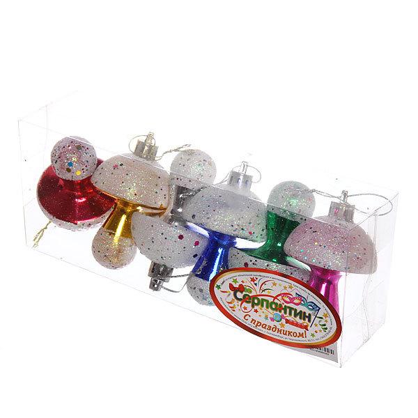 Ёлочные игрушки, набор 6 шт, 7см″Грибочки″микс купить оптом и в розницу