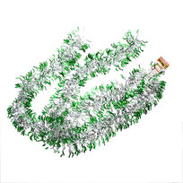 Мишура новогодняя 2 метра 9см ″Волны″ зеленый, серебро купить оптом и в розницу