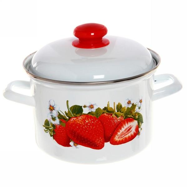 Набор посуды эмалированной 3 предмета ″Сочная клубника″ (2л,3л,4,5л) купить оптом и в розницу