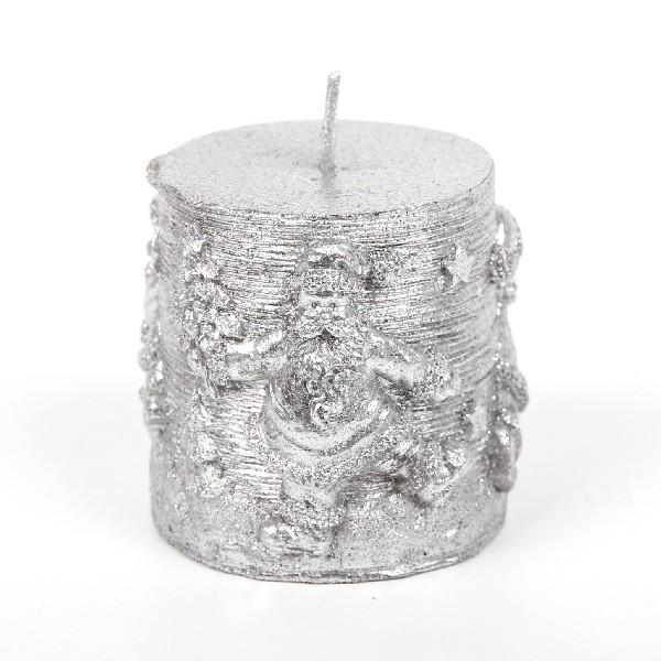 Свеча Новогодняя ″Столбик Дед мороз ″ 9см, серебро купить оптом и в розницу