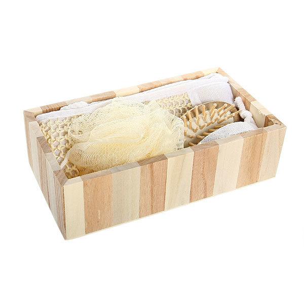 Банный набор в деревянной кадушке из 4 предметов ″Классика″ (две мочалки, пемза, расческа) купить оптом и в розницу