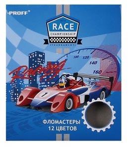 Фломастеры 12цв PROFF Racing вентил.колпачок к/у купить оптом и в розницу