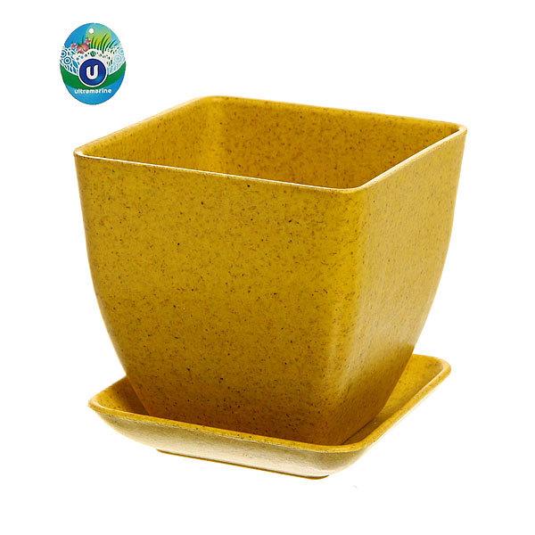 Горшок для цветов ″Кубик″ ЭКО 9*9*8,5см SHF-5А желтый купить оптом и в розницу