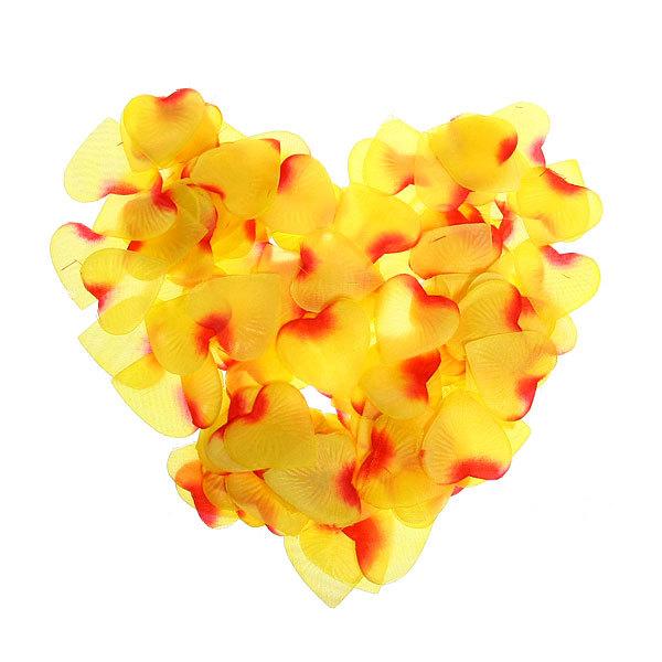Лепестки роз желтые сердечки, 150 шт в упаковке, 4*4 см купить оптом и в розницу