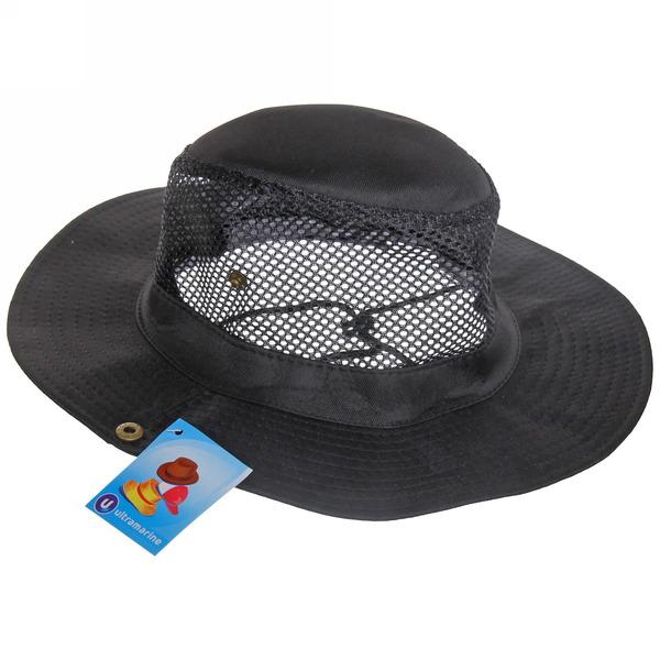 Шляпа мужская с клепками и сеткой черный цвет 58см купить оптом и в розницу
