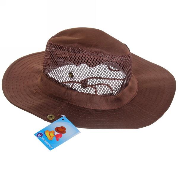 Шляпа мужская с клепками и сеткой коричневый цвет 58см купить оптом и в розницу