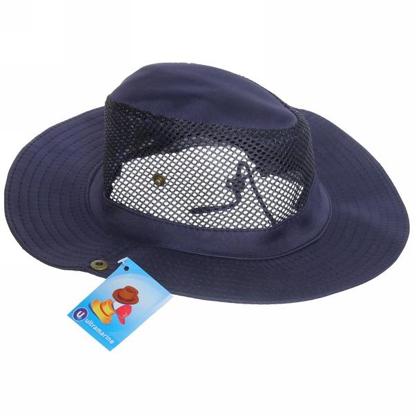 Шляпа мужская с клепками и сеткой синий цвет 58см купить оптом и в розницу