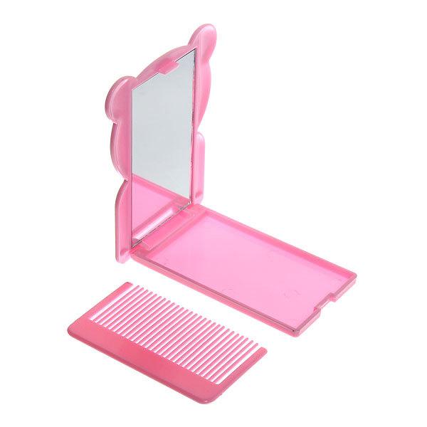 Зеркало косметическое с расческой ″Мишутки″ прямоугольник 7*10см купить оптом и в розницу