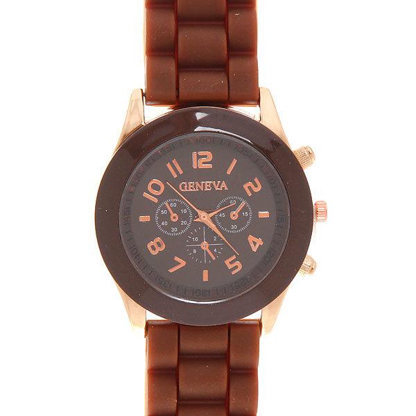 Часы наручные на силиконовом ремешке Женева, цвет коричневый купить оптом и в розницу