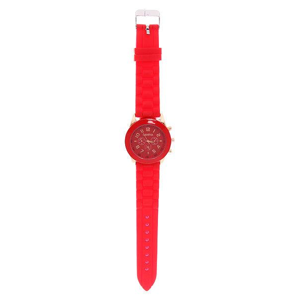 Часы наручные на силиконовом ремешке Женева, цвет красный купить оптом и в розницу
