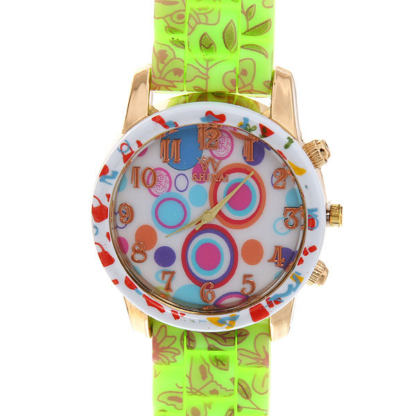 Часы наручные на силиконовом ремешке ″Круги″ купить оптом и в розницу