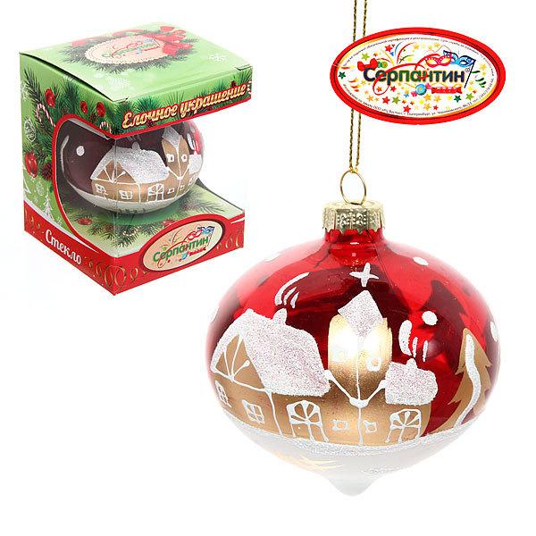 Новогодний шар ″Рождественская ночь.Рубин капля″ 8см купить оптом и в розницу