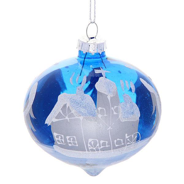 Новогодний шар ″Рождественская ночь.Топаз капля″ 8см купить оптом и в розницу