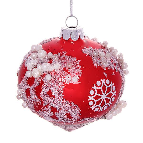 Новогодний шар ″Заснеженная капля.Рубин″ 8см купить оптом и в розницу