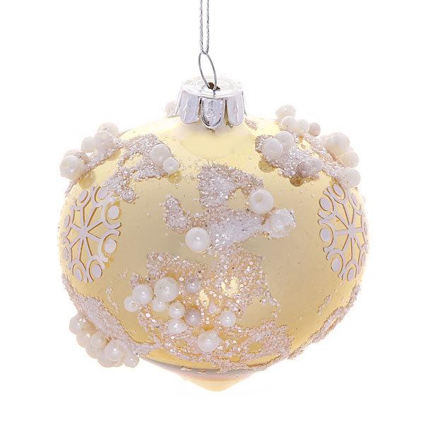 Новогодний шар ″Заснеженная капля.Золото″ 8см купить оптом и в розницу