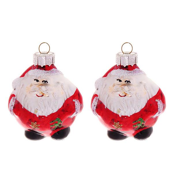 Ёлочные игрушки стеклянные, набор 2шт, 7см ″Дед Мороз″ купить оптом и в розницу
