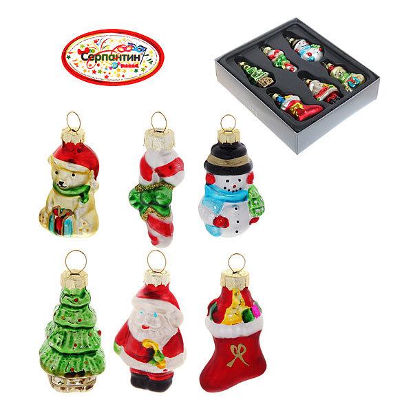 Ёлочные игрушки стеклянные, набор 6шт, 5см ″Новогодние друзья″ купить оптом и в розницу