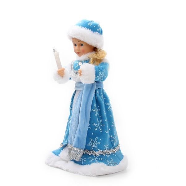 Снегурочка музыкальная 40см со свечой в голубой шубе купить оптом и в розницу