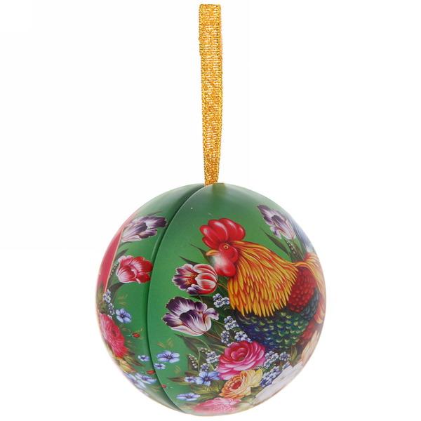 Ёлочный шар-шкатулка жестяной 7 см Жостовский петушок купить оптом и в розницу