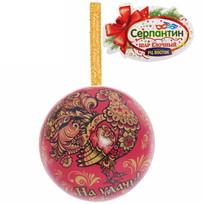 Ёлочный шар-шкатулка жестяной 7 см Хохлома купить оптом и в розницу