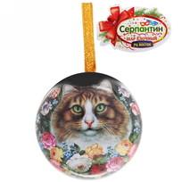 Ёлочный шар-шкатулка жестяной 7 см Жостовская кошка купить оптом и в розницу