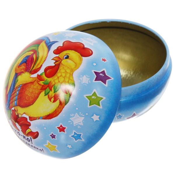 Ёлочный шар-шкатулка жестяной 7 см Сказочный петушок купить оптом и в розницу