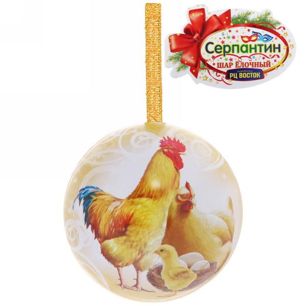 Ёлочный шар-шкатулка жестяной 7 см Куриное семейство купить оптом и в розницу