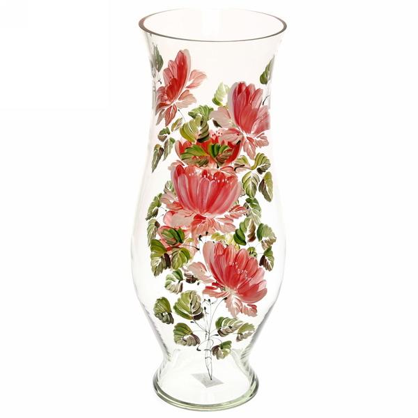 Ваза стеклянная 40см прозрачная, ручная роспись рис. №18 купить оптом и в розницу