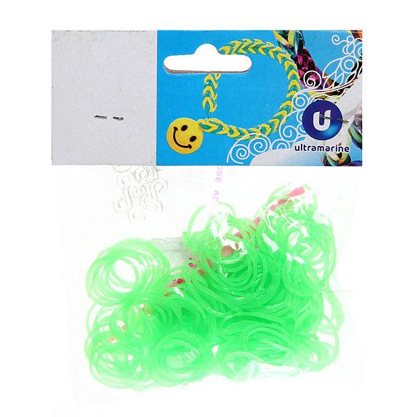 Резинки для плетения 300шт зеленый неон с крючком и S-клипсами купить оптом и в розницу