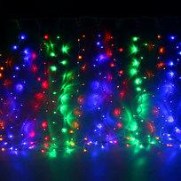Занавес светодиодный ш 2 * в 1,5м, 276 ламп LED,″Дождь″, Мультицвет,8 реж, прозр.пров. купить оптом и в розницу