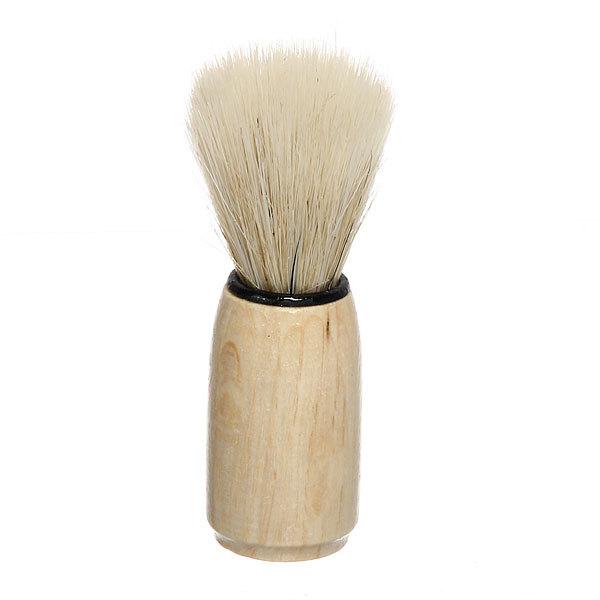 Помазок для бритья, белый ворс, цвет ручки светлое дерево,10см купить оптом и в розницу
